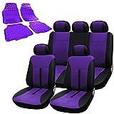 WOLTU Universal Autositzbezug + Auto Fußmatten Set Sitzbezüge Schonbezug Schonbezüge Alu Look mit 4 tlg. Fußmatten PVC AS7288la+AM7162