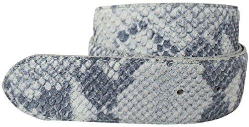 Brazil Lederwaren Gürtel mit Pythonprägung ohne Schließe 4,0 cm Python-Prägung Hochwertig Schlangen-Muster Reptil-Prägung ohne Schnalle Riemen, Bundweite 120, Hellgrau (Snake Print Schnalle)