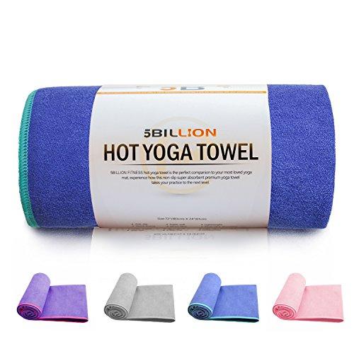 5BILLION Mikrofaser Yoga Handtuch für Yogamatte - 183 cm x 61 cm - Hot Yoga Handtuch, Bikram Yoga Handtuch, Ashtanga Yoga Handtuch - Non Slip, Super Saugfähig - Frei Tragetasche (Blau)