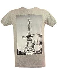 Souvenirs de France - T-Shirt Homme Paris 'Moustache' - Gris