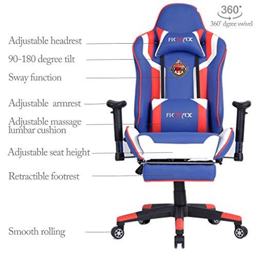 Ficmax taglia larga sedia ufficio girevole alta con for Sedia ufficio con poggiapiedi