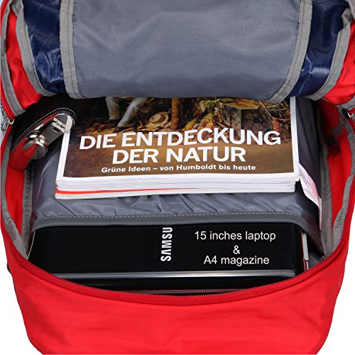 Fafada Wanderrucksack Herren Damen 40L 35L 25L Wasserdicht Rucksack Trekkingrucksack Reiserucksack Klettenrucksack mit Regenschutz 25L Rot