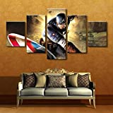 KAIWLH Dekorative Malerei Hd Gedruckt Malerei Panel Leinwand Wandkunst Captain America In Aktion - 5 Stück Leinwand Size2