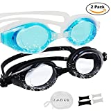 LADES Swimming Goggles - Swim Goggles with Anti-Fog Waterproof UV Protection for Adult Men Women and Kids