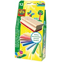 Ses 00205 Coloured Chalks (Set of 12) with Blackboard Eraser by SE