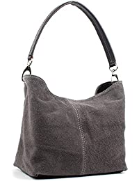 Aossta Ladies Real Italian Suede Leather Medium Shoulder Handbag Tote Bag