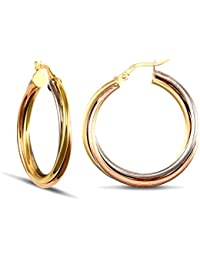 Jewelco London Ladies 9ct Yellow White and Rose Gold Russian Wedding Ring 3mm Hoop Earrings 29mm