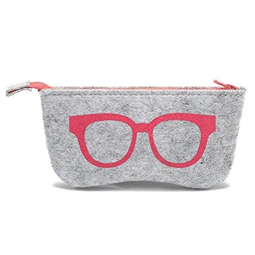 JUTTA Brillenetui für Damen und Herren - Brillenbox Etui in Rosa für Brillen und Sonnenbrillen - Box Modell: Hardcase-Filz in Groß
