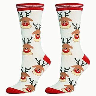 XdiseD9Xsmao Calcetines De Algodón Suaves Suaves Y Cálidos Calcetines Navideños Con Estampado De Alces De Papá Noel Navidad Elástico Medio Absorbente De Sudor Calcetines Para Hombres Mujeres