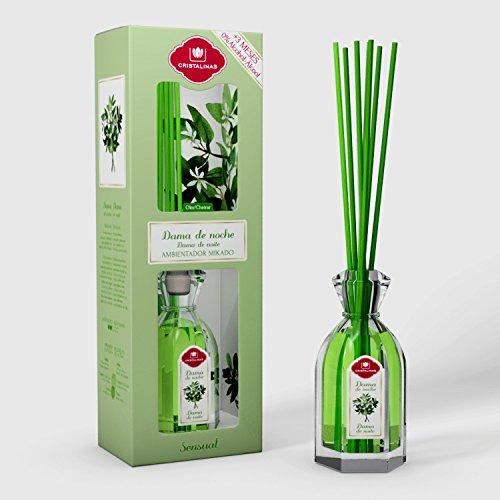 CRISTALINAS 10010902 Ambientador Dama De Noche, Cristal, Verde, 9x6.5x27 cm
