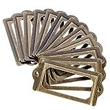 Demiawaking 12pcs Porta Etichette in Metallo Vintage Targhetta Portanome per Porta Cassetta Armadi