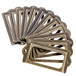 MagiDeal 50 x Office Library File Drawer Door ID Name Tag Label Holder Frame Brass
