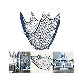 Red de pesca decorativa LoveTree, estilo mediterráneo, azul, M(150 x 200cm)