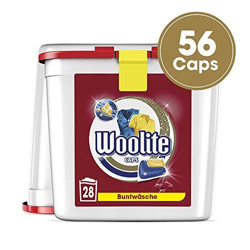Woolite Caps Color - Pflegende Feinwaschmittel Caps für Buntwäsche - Für 56 Waschladungen - 2er Pack (2 x 28 Caps)