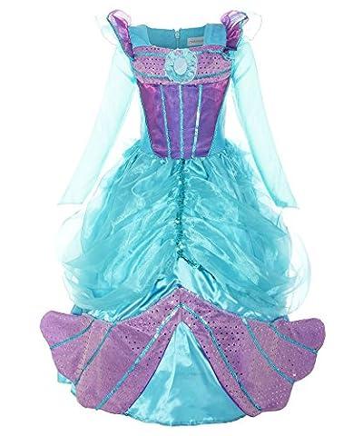 ReliBeauty Mädchen langarm Prinzessin Kleid Meerjungfrau Kostüme, Blau&Violett, 140-146 (Prinzessin Gekräuselten)
