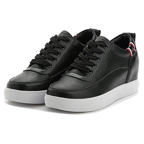 Shenn Damen Versteckt Keil Ferse Schnüren Komfort Leder Sneaker Schuhe Schwarz