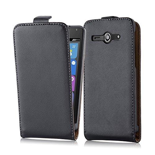 Cadorabo Hülle für Huawei Ascend Y530 Hülle in KAVIAR Schwarz Handyhülle aus Glattem Kunstleder im Flip Design Case Cover Schutzhülle Etui Tasche Kaviar-Schwarz