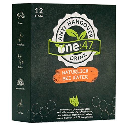 one:47 ® Anti-Hangover-Drink | 12 Sticks | PATENTIERTE FORMEL | hochkonzentriert & vegan | Natürlich bei Kater | hochkonzentrierte Elektrolyte und Pflanzenextrakte Ginkgo, Weidenrinde, Ingwer, Kaktusfeige, Acerola | Mineralien Magnesium, Zink, Natrium | plus 4 hochkonzentrierte Vitamine B1, B2, C, Folsäure | aus Deutschland | bei Alkoholkonsum | Anti-Hangover-Sticks one47