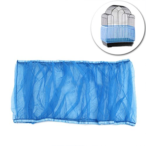 UEETEK Vogelkäfig Abdeckung Mesh Seed Catcher für Vogelfutter Kleintiere - Größe L (blau)