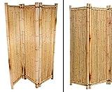 Raumteiler aus gelben Bambus, 180 x 180cm 3teilig - Raumtrenner Paravent mobiler Sichtschutz