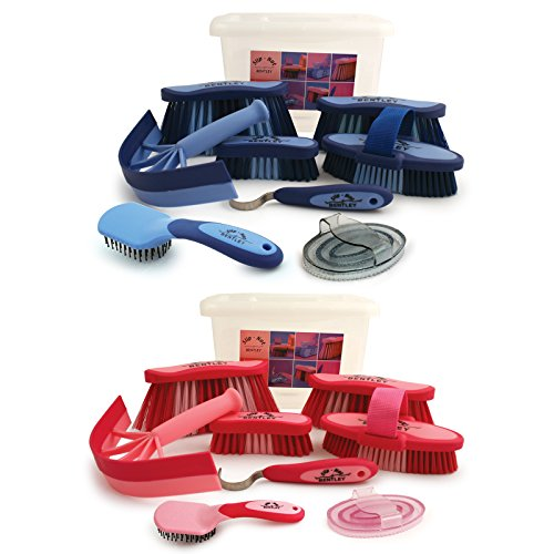 Bentley-Slip-Not-8-Piece-Equestrian-Grooming-Kits-With-Carrying-Box-Pink-and-Blue-Available