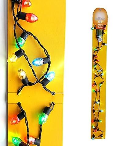 Weihnachts Lichterkette zum Umhängen X-Mas Lights Halskette mit blinkenden Lichterkerzen (Neue Version jetzt alle Lichter beleuchtet) wahlweise dauerhaft an,. abwechseln blinkend, zusammen blinkend absolut crazy Schmuck für den Weihnachtsmarkt oder auf Weihnachtsfeiern Griswold Family Wahnsinn für Elchglas (Familien Gemeinsam Auf Weihnachten)