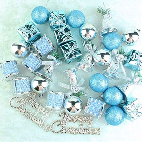 YYZH Weihnachtskugel 32pcs Weihnachtsbaum Dekorationen Gongs Und Trommeln Weihnachten Ball See Blau Dekorationen Für Haus Glocken 32pcs Weihnachten