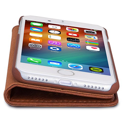 "iPhone 6 / 6s Flip Case Rose Gold - CASEZA ""Oslo"" Ultra Schlanke PU Leder Hülle Ledertasche Lederhülle für das Original Apple iPhone 6/6s (4.7 Zoll) - Edles Kunstleder Cover mit Magnetverschluss Braun iPhone 7"