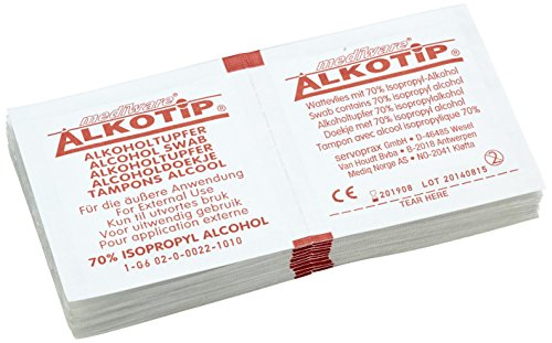 neoLab 1-6001 Alkohol-Pads, steril, 30 mm x 62 mm, gefaltet (100-er Pack) (Alkohol Sanft)
