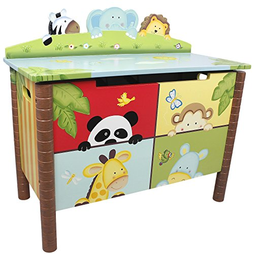 Fantasy Fields - Sunny Safari themed Kids Wooden Toy Chest Toy Box with Safety Hinges | Hand Crafted & Hand Painted Toybox Toy Storage Unit | Child Friendly Water-based Paint Best Price and Cheapest
