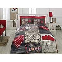 Juego de funda de edredón y funda de almohada de algodón para cama de matrimonio, tamaño queen, 100 % algodón, 1 funda de edredón, 1 sábana de cama, ...