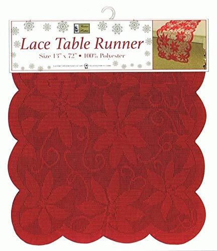 Better Home Tischläufer, Weihnachtsstern, Spitze, 33 x 183 cm, Rot -