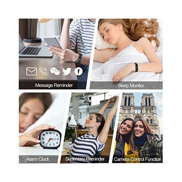 TOOBUR Pulsera de Actividad Inteligente, IP68 Impermeable Reloj Inteligente con Pulsómetro Podómetro Calorias Monitor de… 7