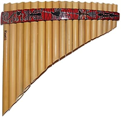 Perú Nasca líneas diseño curvado flauta de pan, Antara, 18tubos–incluye funda