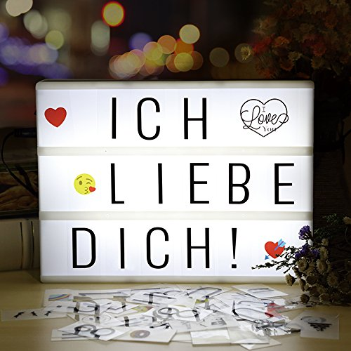 Lightbox| Lichtbox| infinitoo led Leuchtkasten A4 mit 196 buchstaben und 28 weiß Symbole 55 bunten emoji für Innenbeleuchtung Deko, stimmung beleuchtung, Nachtorientierungslicht, Party und Haus Deko (Wand-buchstaben Runde)