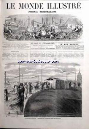 MONDE ILLUSTRE (LE) [No 545] du 21/09/1867 - COURRIER DE PARIS PAR CHARLES YRIARTE - INAUGURATION DE LA STATUE DE M. BILLAUT A NANTES PAR M.Y. - LE CONGRES DE GENEVE - EXERCICE DU CANON A VERSAILLES - L'ASCENSEUR HYDRAULIQUE A L'EXPOSITION.