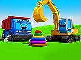 Farben lernen mit dem Lastwagen und Bagger