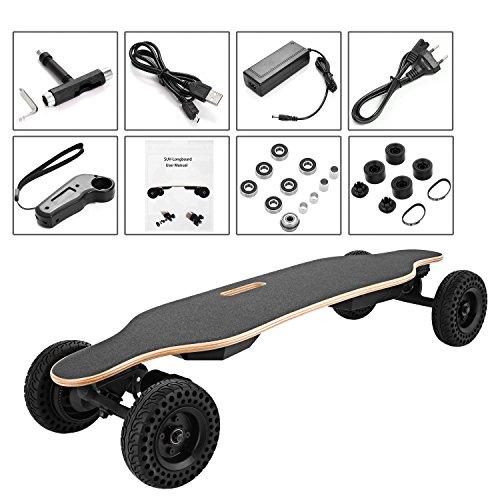 Oldhorse Elektro-Longboard Elektrisches Doppelte Motoren (900W * 2) SUV Skateboard Portable E-Board 35km/h Max 120kg mit Fernbedienung und Motor für Kinder & Jugendliche(DE Lager)