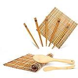 WeeDee Bambou Sushi Maker Kit - roulettes pour Sushi en Bambou, 2 x Tapis, 1 pagaie de Riz, 1 x épandeur de Riz, 5 Paires de Baguettes