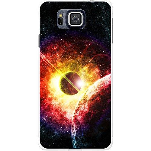 fancy a snuggle - cover rigida per cellulare samsung, motivo: esplorazione dello spazio, plastica, esplosione solare colorata, samsung galaxy alpha (g850f)