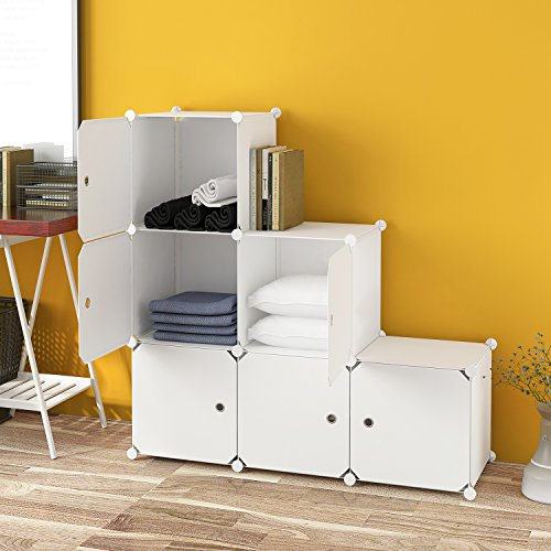Tespo DIY Metal Wire Storage 6 Cubos Blanco Organizador abierto Armario armario Multi-Uso Modular Estantería de almacenamiento para libros, juguetes, herramientas Blanco
