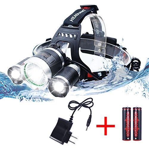 JUDYelc LED Scheinwerfer 4 Modi 6000 Lumes Helle LED Scheinwerfer mit wiederaufladbare batteriebetriebene wasserdichte Helm Licht für Camping Laufen Wandern und Lesen Outdoor Sport