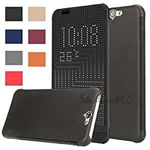 HTC A9 Case, HTC One A9 Dot case, AnoKe@ DEY DOT Luxury Flip Slim Dot View Cover Case for HTC One A9,A9u,A9w -Dot Black
