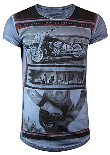 trueprodigy Casual Herren Marken T-Shirt mit Aufdruck, Oberteil cool und stylisch mit Rundhals (kurzarm & Slim Fit), Shirt für Männer bedruckt Farbe: Blau 1063123-4014 Ombre Blue