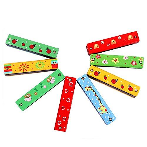 newin-1aus Holz mit Mundharmonika für Kinder-Spielzeug-Geschenk, mit gratis Reed-Instrument, zufällige Farbe