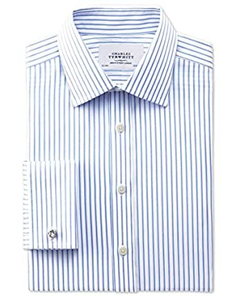 Classic fit non iron twill stripe white and sky blue for Charles tyrwhitt shirts review