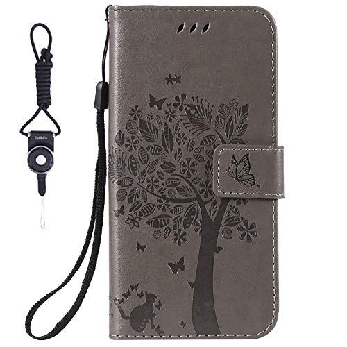 HTC Desire 825 Hülle, SsHhUu Echt Leder Hülle Kartenfach Standfunktion Magnet Ledertasche mit Schlaufenclip + Schreibkopf für HTC Desire 825 / Desire 10 Life Style (5.5 Zoll) Grau