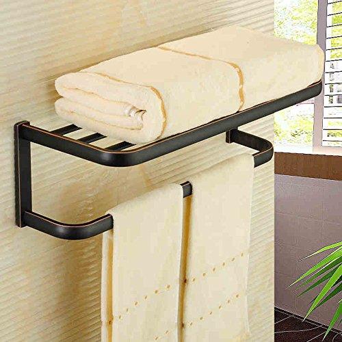 FUFU Barres de Serviette Style européen de cuivre noir / Bronze Single Rod antique serviette Rack Retro serviette Rack simple salle de bain serviette pendentif (deux couleurs en option) ( Couleur : Noir )