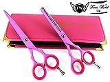 Professional Barber Ciseaux de coiffure pour femmes Coupe de cheveux de rose 14cm
