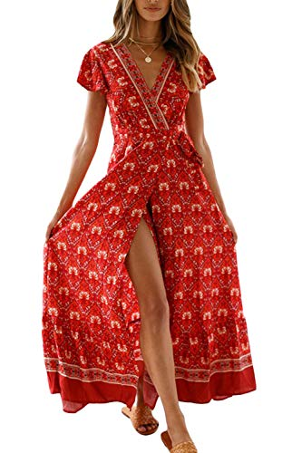 Zilcremo Femmes Bohème Robes Longues été Plage Floral À Manches Courtes Split Wrap Maxi Robe 5 XL